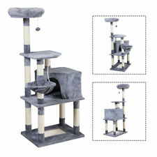 """60"""" Cat Tree Kittens Activity Tower w/Condo Scratching Post Pet Play House Grey"""