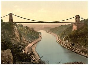 Bristol Clifton suspension bridge from the cliffs photochrome print ca. 1890
