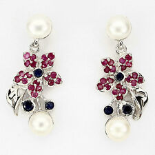 Ohrringe Rubin Saphir Perle 925 Silber 585 Weißgold