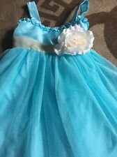 Stunning Turquoise Net Party Style Dress Age 6 Bought In Florida