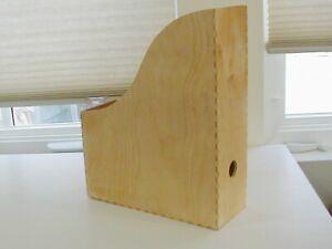 Ikea Knuff Wooden Magazine Book Holder Organizer Paper Storage Thumb Hole Slot