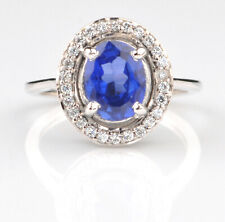 Natural Royal Blue Tanzania Tanzanite 1.65Ct Oval Shape Solitaire Ring In 925