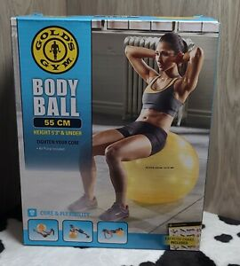 Gold's Gym Body Ball 55 Cm 5'3 And Under Yellow Stability Yoga Excercise Ball
