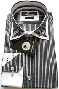 Men's Stripe Shirt Double Collar Saddle Stitch Cotton Size: L Claudio Lugli
