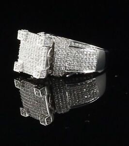 10K White Gold Finish W/Lab created Silver Square Men's Ring size 8