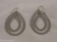 Teardrop Dangle Earrings Lightweight 2 1/4� Fashionable Silver Tone