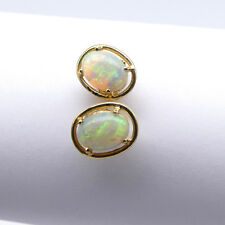 GOLD JEWELLERY, SOLID 14 CARAT GOLD EARINGS WITH SOLID WHITE OPAL 8701