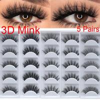 5 Pairs 100% Real 3D Mink Makeup Cross False Eyelashes Eye Lashes Handmade US