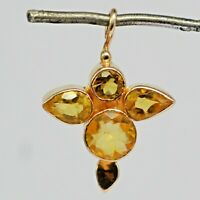 925 Sterling Rose Gold Silver Citrine Gemstone Pendant 1.94 gms Jewelry CCI