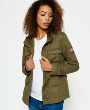 New Womens Superdry Classic Rookie Military Jacket Vintage Olive