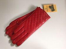XL 100% Auth KRISTEL 100% Genuine Leather Rosso Guanti Imbottiti & Fodera in pelliccia.