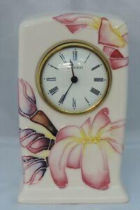 Moorcroft Frangipani Clock - marked as a second - 15cm tall