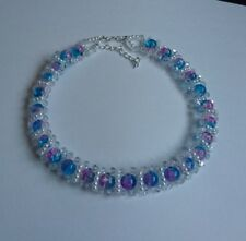 Rainbow bead & Crystal CHOKER necklace WHITE pearl  glass 15""