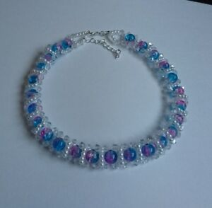 """Rainbow bead & Crystal CHOKER necklace WHITE pearl  glass 15"""""""