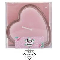 Pink Heart Shaped Candle In Glass Jar Holder Mothers Day Gift Home Decor P071 UK