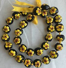 Kukui Nut Lei Hibiscus YELLOW Flower Necklace Hawaiian Wedding Luau Graduation