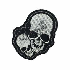 Double Skulls (Iron On) Embroidery Applique Patch Sew Iron Badge
