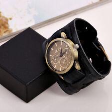 Vintage Men's Wide Leather Cuff Bracelet Cool Watches Punk Hippy Black Brown