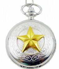 Pocket Watch with spring loaded lid and Chain Lone Star Texas USA