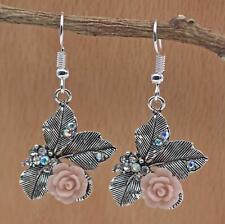 "925 Silver Plated Hook - 1.6"" Retro Flower Leaf Resin Rose Crystal Earrings DS"