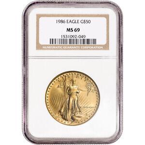 1986 American Gold Eagle 1 oz $50 - NGC MS69