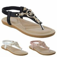 LADIES WOMENS FLAT COMFORT DIAMANTE SUMMER BEACH DRESS SANDALS SHOES SIZE 3-8