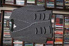 White House Black Market blk and white pebbled Cardigan Sweater M (b124)