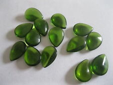 24 Czech. smooth non facet teardrop Rhinestones in 18x13mm Green.