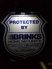 New  Brinks  Security Yard Sign w/ 4 Window Inside  Decals & Solar Light