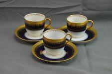 JPL J Pouyat France Blue Cobalt Gold Leaf Trim Demitasse Espresso Cups Set 3
