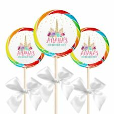 "12 Unicorn Birthday Party Favors Personalized 2.5"" Lollipop Stickers"