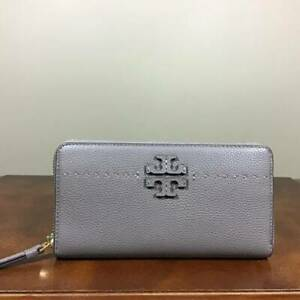 Tory Burch McGraw Zip Continental Pebbled Leather Zip Wallet Silver Maple Gold