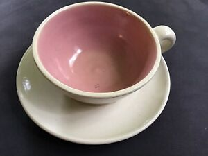 Vintage Pisgah Forest Pottery W.B. Stephen Pink & Cream Cup & Saucer