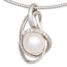 NEU Diamanten Brillanten Anhänger Perle echt Gold 585er Weißgold 14 Karat