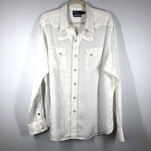 Ralph Lauren Polo shirt mens XL Denver Western 100% linen pearl button RARE