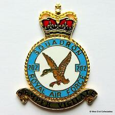 RAF 202 Squadron DANBURY MINT Blank Badge -24ct Gold Plate 1970s Royal Air Force