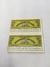 30 Vintage Michigan Lottery Tickets 1973 Paper Ephemera Collectible
