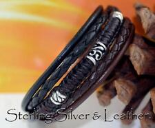 1B-041 NEW Armband GIFT Sterling Silver Leather Armband Wristband Men Bracelet