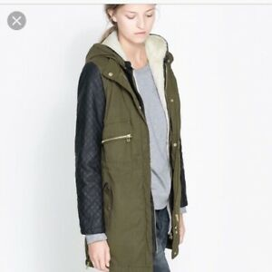 Zara Trench Khaki Coat Jacket Parka Military Quilted Fur Size Small Womans