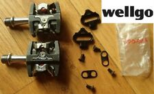 new WELLGO mountain bike clipless pedals + cleat set WPD M8 adjustable release