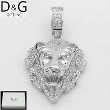 DG Men's 925 Sterling Silver 35mm Lion Head Brilliant CZ Pendant.Unisex + Box