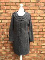 Fenn Wright Manson Grey 100% Wool Cardigan Size Medium 12 Long Sleeved Jumper 38