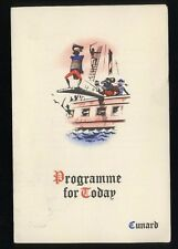1962 RMS Queen Elizabeth Programme of Events - Cunard Line