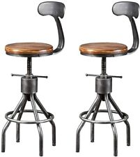 "Set of 2 Industrial Swivel Bar Stools with Backrest 23-33"" Kitchen Island Chair"
