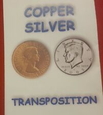 coin trick- COPPER SILVER HALF real coins! Quality trick coin plus English Penny