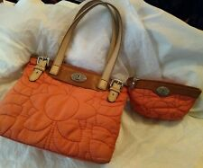 FOSSIL Key-Per Nylon Quilted Peach Tote/Shopper Bag Purse & Matching Wallet