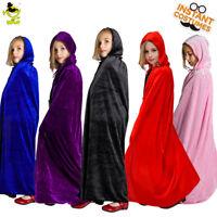 Girls Hooded Cape Kids Pretty Beauty Fancy 5 Colors Long Cloak for Party Show