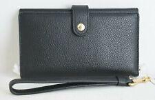 COACH Polished Pebble Phone Black Wristlet