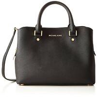 NWT Cute Michael Kors Savannah Medium Leather Satchel Bag 30S6GS7S2L BLACK NEW