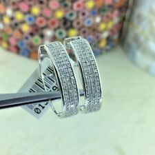 Ladies 10K White Gold Micro Pave Set Round Cut 3/4CT Diamond Hoop Earrings